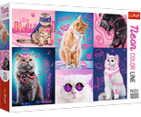 Puzzle 1000 Neon Color Line Super cats Trefl